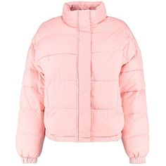 Boohoo Tegan Funnel Neck Quilted Jacket (€43) ❤ liked on Polyvore featuring outerwear, jackets, bomber jackets, wrap jacket, pink quilted jacket, padded bomber jacket and duster coats