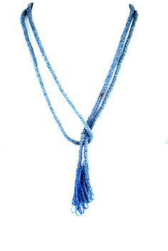 """Vintage 1920s Art Deco Violet Blue Glass Seed Bead Rope Sautoir Lariat Knot Tassel 51"""" Necklace by TheGemmary on Etsy"""