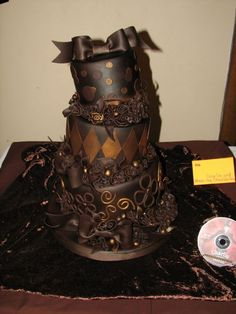 chocolate + chocolate + chocolate = heaven  It would almost be worth getting married to get this wedding cake.  I may just have to have a fancy birthday cake.