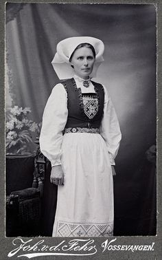"Married woman from the Hardangerfjord region. The embroidery on the apron and the cuffs is called ""Hardanger"" - named after the region. Photo by National Library of Norway, via Flickr."