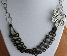 mixed metal bike chain metal flower necklace by WanderingJeweler