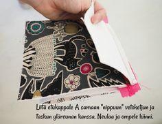 DIY: Pussukka tuplavetoketjulla - Punatukka ja kaksi karhua Sewing Patterns, Weaving, Purses, Crochet, Wallets, Bags, Dressmaking, Handbags, Handbags