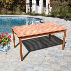 Vifah V98 Outdoor Wood Balthazar Rectangular Table