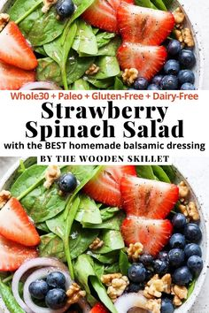 An amazing summer salad with the BEST homemade balsamic dressing!! It's Whole30   Paleo   Gluten-Free   Dairy-Free. This homemade summer salad is simple to make with pantry staples. This is a side dish or main course that the whole family will enjoy. #SummerSalad #StrawberrySpinachSalad Easy Meal Prep Lunches, Healthy Meal Prep, Healthy Eating, Whole30 Dinner Recipes, Paleo Recipes, Free Recipes, Spinach Strawberry Salad, Spinach Salad, Whole 30 Recipes