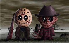 So cute! little 80s horror villians Jason and Freddy Kruger. Classic stuff