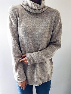 Pavacat Casual Knit High Neck Loose Sweater-Pavacat