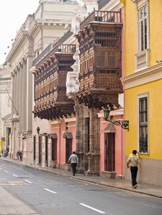 Beautiful architecture in the historic centre of Lima, Lima, Peru #architecture