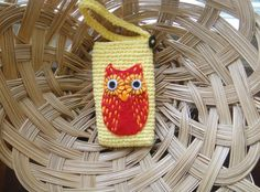 Crochet IPHONE CASE  Yellow with Red Owl by Burborana by Burborana, $9.00