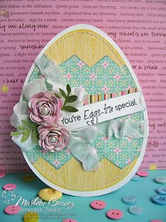 Gorgeous flowers on an Easter Egg shaped card...