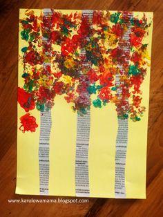 Kolejną maszą jesienną pracą jest brzoza. Pomysł podpatrzony w internecie TU ...oczywiście nie byłabym sobą, gdybym go nieco nie zmodyfikow... Preschool Christmas Activities, Autumn Activities, Craft Activities For Kids, Preschool Crafts, Fall Crafts For Kids, Diy For Kids, Diy And Crafts, Fall Art Projects, Classroom Art Projects