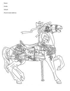 28 best carousel animal coloring pages images on pinterest in 2018