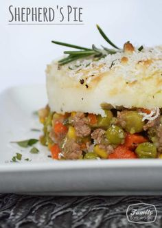 Recipe for Irish dish, shepherd's pie. This casserole uses fresh vegetables such as peppers, carrots, peas, and onions. Ground beef and mashed potatoes complete the dish.