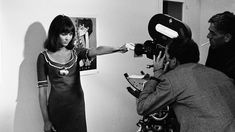 Anna Karina on the set of Pierrot le Fou with Jean-Luc Godard in 1965