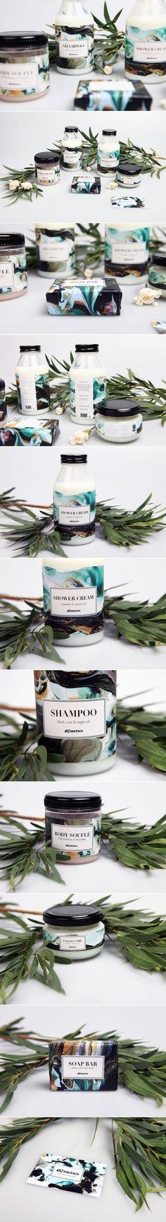Packaging design created for a natural beauty brand Ozmetics, including shampoo, shower cream, body souflé, facial cream and a soap bar.