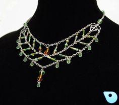 Nature necklace druid necklace glass beaded by CervelleDoiseau
