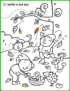 kleurplaat Herfst in het bos