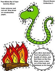 Paul bitten by viper activity sheet for Sunday school Cutout