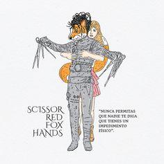 scissor red fox hands