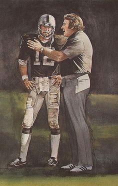 Oakland Raiders Quarterback Kenny Stabler & Head Coach John Madden portrait by Merv Corning Pro Football Journal Presents: NFL Art Raiders Quarterback, Raiders Players, Nfl Raiders, Raiders Baby, Nfl Coaches, Nfl Football Players, Football Art, Vintage Football, Football Memes