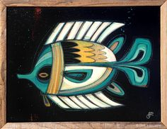 """""""Fish Outta Water #45"""" © Erik Abel 2014<br>16""""x12"""" Acrylic, marker, colored pencil on wood<br>Frame: Reclaimed Redwood"""