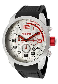 Men's Overdrive Chronograph Silver Dial Black Rubber