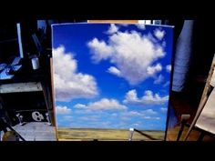 ▶ Free Acrylic Painting Lesson In Real Time - Painting Simple Clouds - YouTube