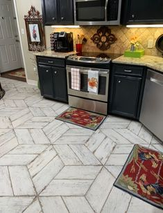 """""""My floor opens up this kitchen. Absolutely love it. Thank you Donna for all your help!"""" We love happy customers! Porcelain Ceramics, Porcelain Tile, Wood Look Tile, Kitchen Cabinets, Flooring, Patterns, Happy, Design, Home Decor"""