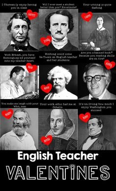 Funny Valentine's Day Teacher puns for English teachers with famous writers teacher gift TEACHER MEME - Valentine's Day English Teacher Puns Education English, Teaching English, English Teacher Humor, Gifts For English Teachers, Teacher Humour, Teacher Stuff, Ap Literature, Teaching Literature, Ap Language