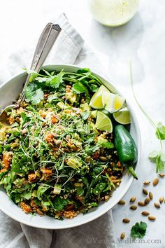 A make ahead, ready when you are salad, Black Bean Sweet Potato Quinoa Salad with Smoky Pepitas and Roasted Jalapeño Lime Dressing. Vegan + Gluten Free