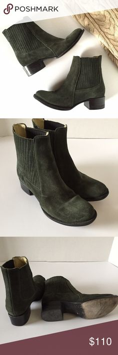 "Elizabeth & James suede booties in olive green The perfect pair of ankle boots in dark green suede!!! Very good condition.                     Style Name: E-April Material: Leather Upper, Lining, And Sole Elastic goring. Shaft Measures Approximately: 7"" Boot Opening Measures Approximately: 10.75"" Stacked Heel Measures Approximately: 1.5"" Elizabeth and James Shoes Ankle Boots & Booties"