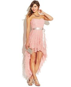 Teeze Me Juniors' Ruffled Sweetheart High-Low Dress> This would be my choice for the Prom. I think this is just so pretty Junior Prom Dresses, Grad Dresses, Prom Party Dresses, Cute Dresses, Beautiful Dresses, Bridesmaid Dresses, Formal Dresses, Bridesmaids, Wedding Dresses