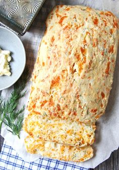 This Cheddar and Dill Buttermilk Quick Bread is light and flaky and bursting with flavour! This bread requires no kneading and no rising, and you can have it on your table in about one hour. Zucchini Bread Recipes, Quick Bread Recipes, Easy Bread, Cooking Recipes, Bacon Zucchini, Baking Tins, Bread Baking, Muffins, Herb Bread