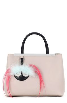 9f66709535ab Fendi  Petite 2Jours  Bicolor Leather Shopper with Genuine Fox   Kidassia  Fur Monster Charm