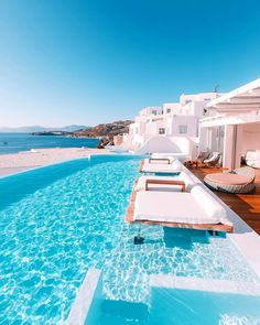 Perfect place to take a nap 💦 The 'Cavo Tagoo Hotel' Designed by Nikos Liakos. Located in Mykonos Island, Greece. Vacation Places, Vacation Destinations, Dream Vacations, Vacation Spots, Beautiful Places To Travel, Cool Places To Visit, Places To Go, Beautiful Hotels, Wonderful Places
