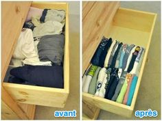 Do you have many drawers in your house? There are many drawers in the kitchen, bedroom and bathroom. Are the contents of these drawers all messy? At this time, it is necessary to tidy the drawers. A good drawer organization can empty and isolate ever Organizing Hacks, Life Organization, Cleaning Hacks, Clothing Organization, Clothes Storage, Organizing Drawers, Bedroom Organization, Organize Dresser, Clothes Drawer