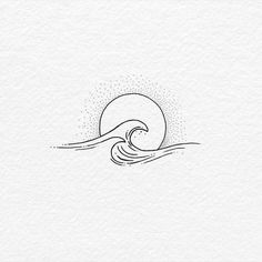 Body – Tattoo's – 60 of The Best Wave Tattoo Designs Mini Tattoos, Body Art Tattoos, Small Tattoos, Small Wave Tattoo, Small Beach Tattoo, Tiny Sun Tattoo, Tattoo Sun, Drawing Tattoos, Wave Tattoo Design