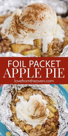 Love From The Oven Recipes Campfire Apple Pie Packets. Easily make apple pie in a foil packet with this recipe! Makes a great camping dessert or summer entertaining dessert. Can be made on the grill, over a campfire or in your oven. Camping Desserts, Köstliche Desserts, Dessert Recipes, Camping Recipes, Camping Cooking, Easy Campfire Recipes, Healthy Camping Snacks, Healthy Meals, Costco Camping