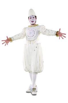 Aufwändiges Kostüm und farbiges Makeup (copyright: Cirque du Soleil)  Corteo_White_Clown2_Photo_John_Davis.JPG (2912×4368)