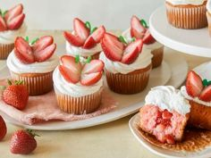 Strawberry Shortcake Butterfly Cupcakes By Food Network Kitchen Cupcake Recipes, Cupcake Cakes, Dessert Recipes, Cup Cakes, Cupcake Ideas, Sweet Desserts, Spring Cupcakes, Butterfly Cupcakes, Butterfly Party