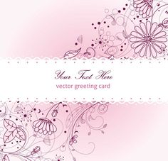 FLORAL GREETING CARD VIOLET VECTOR