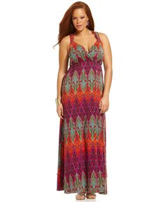 Extra Touch Plus Size Dress, Sleeveless Printed Empire Maxi - Plus Size Dresses - Plus Sizes - Macy's