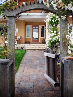 Your home walkway doesn't need to be simple. Let's design it with an elegant walkway using hardscape stones and brick. It will make your exterior decor pop. Exterior Siding Options, Exterior Design, Exterior Trim, Diy Exterior, Craftsman Exterior, Craftsman Style, Exterior Paint, Landscape Design, Garden Design