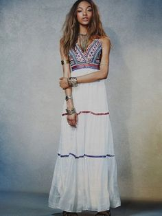 Boho Deep V neck Ethnic Embroidery Beading Maxi Dress – Simple Craze