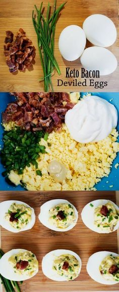 Eggs Simple Deviled Eggs with Bacon and Chives - Keto!Simple Deviled Eggs with Bacon and Chives - Keto! Ketogenic Recipes, Paleo Recipes, Low Carb Recipes, Keto Recipes With Bacon, Pescatarian Recipes, Kitchen Recipes, Keto Snacks, Healthy Snacks, Healthy Eating
