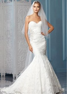 CHARMING ALL-OVER LACE MERMAID SWEETHEART NECKLINE NATURAL WAISTLINE WEDDING DRESS IVORY WHITE LACE BRIDAL GOWN