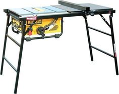 "Full scale table saw setup I Quick set up I Tube steel legs w/ locking hinge supports I Rip Capacity to 27"" I 34½"" Working height I 49lbs I HPL Laminate top"
