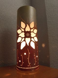 Table lamp mettalic copper silver yellow orange by GlowingArt, $75.00