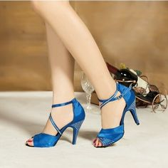 Promotion! Customize heels!Top quality women satin with rhinestone dance shoes Purple Blue ladies open toe latin shoes XC-6345