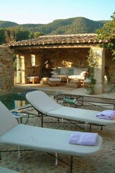 Traditionnal outdoor Pool from south of France. Bastide de Provence