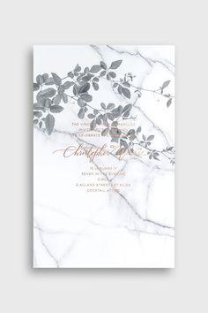 BLISS & BONE / Carrara Vineyard Invitation / Stationery Inspiration / Marble + floral wedding invite design with gold foil / Modern monochrome / Dramatic / Nature-Inspired Prints / Letterpress / The LANE